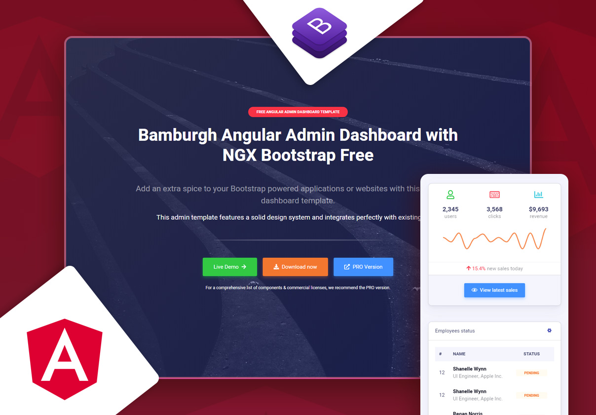 Bamburgh Angular Admin Dashboard with NGX Bootstrap Free