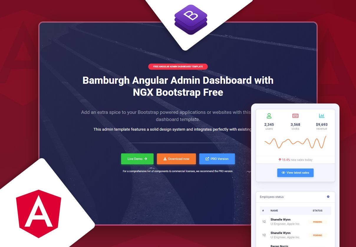 Bamburgh Angular Admin Dashboard with NGX Bootstrap Free