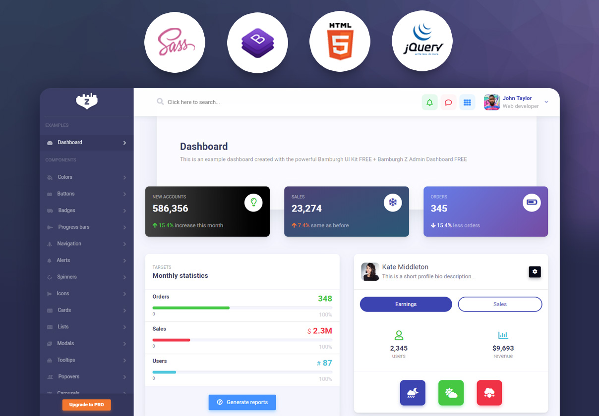 Bamburgh HTML5 Admin Dashboard with Bootstrap Free