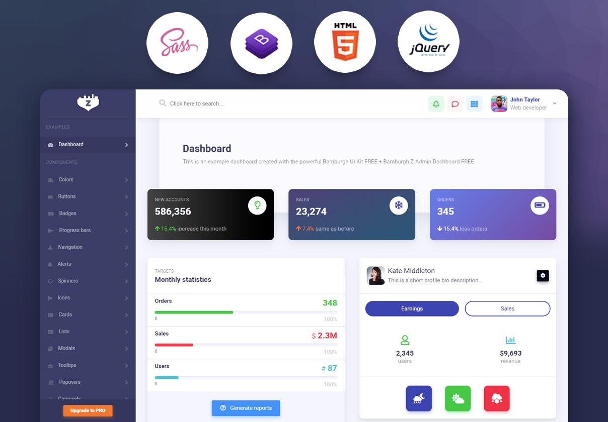 Bamburgh HTML5 Admin Dashboard with Bootstrap Free