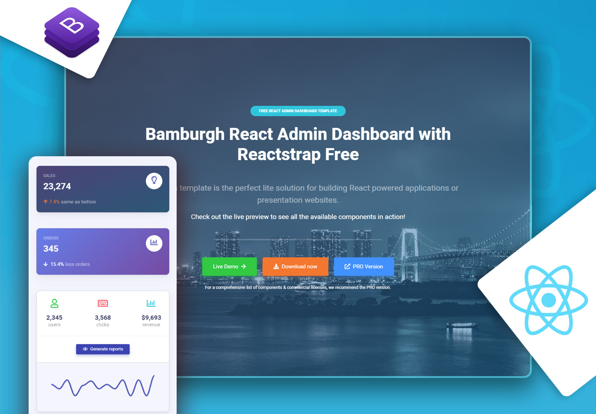 Bamburgh React Admin Dashboard with Reactstrap FREE