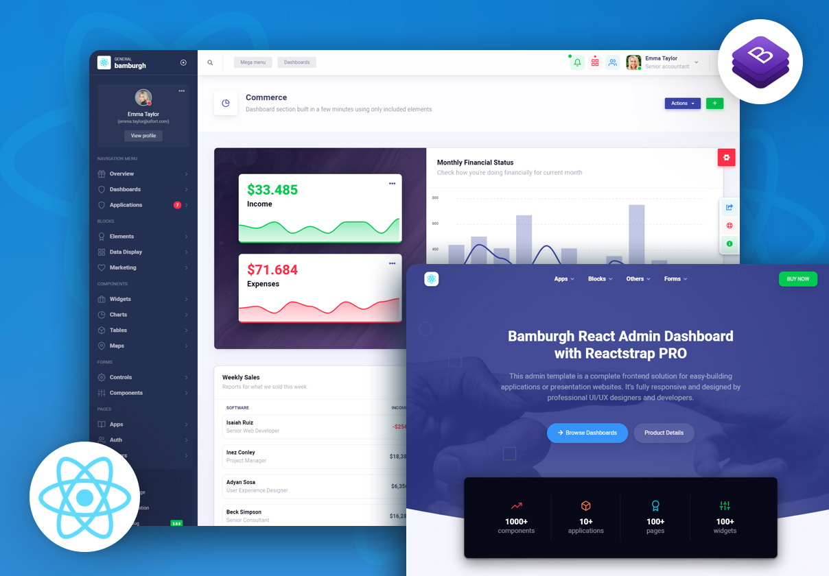 Bamburgh React Admin Dashboard with Reactstrap PRO