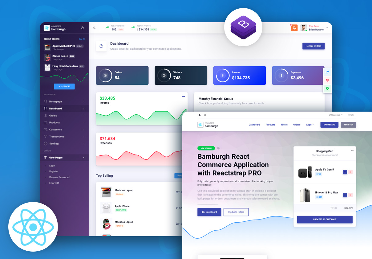 Bamburgh React Admin Dashboard with Reactstrap PRO - Commerce Application