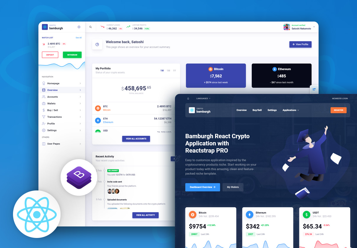 Bamburgh React Admin Dashboard with Reactstrap PRO - Cryptocurrency Application