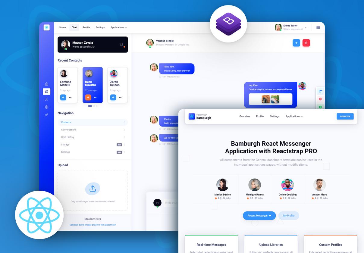 Bamburgh React Admin Dashboard with Reactstrap PRO - Messenger Application
