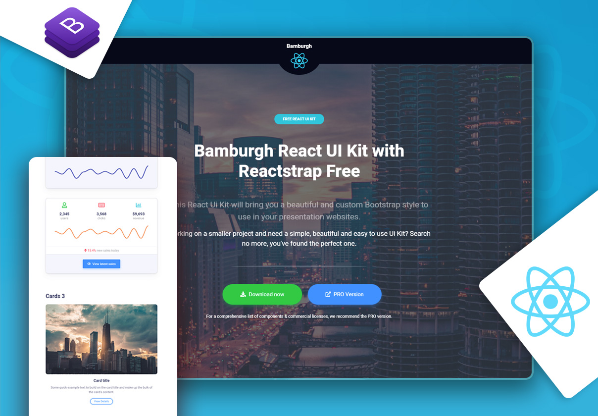 Bamburgh React UI Kit with Reactstrap Free