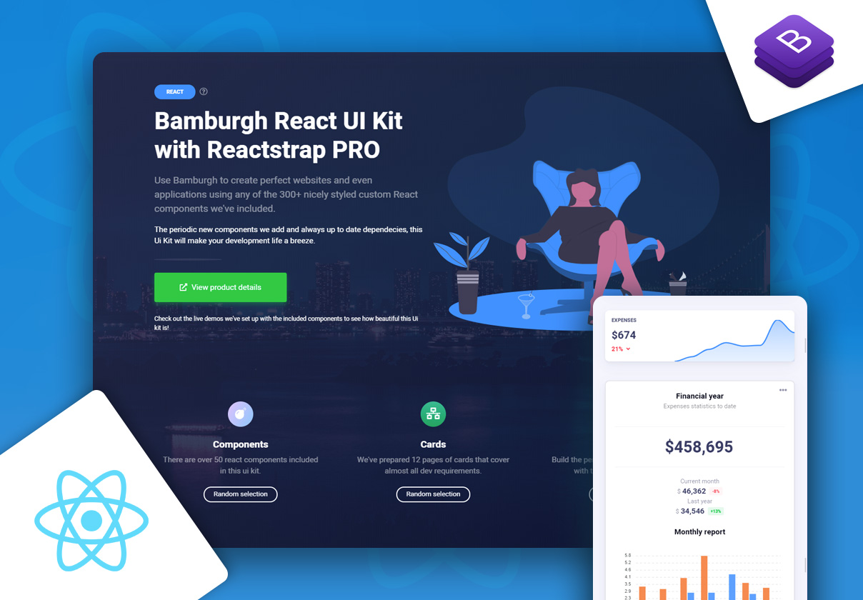Bamburgh React UI Kit with Reactstrap PRO
