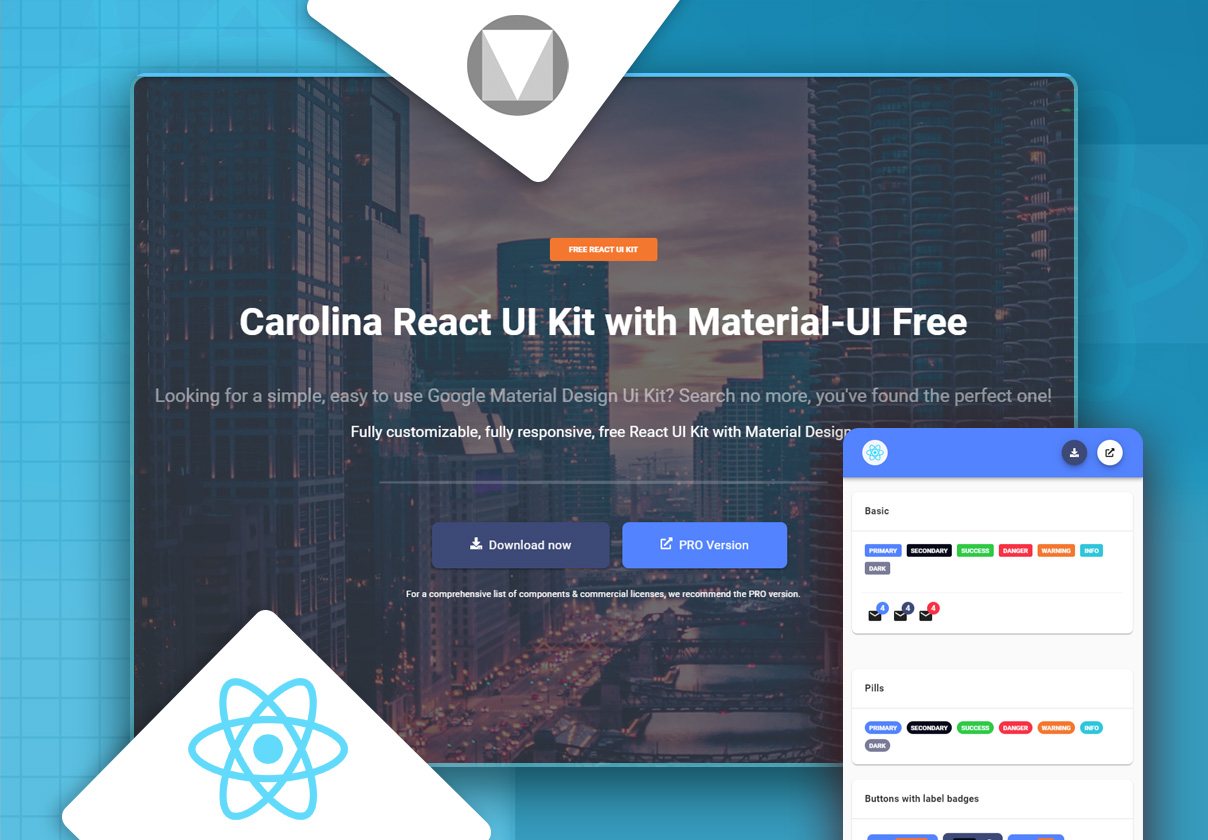 Carolina React UI Kit with Material-UI Free