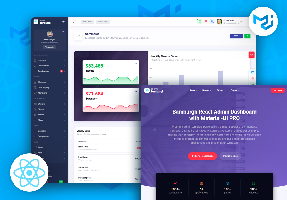 Bamburgh React Admin Dashboard with Material-UI PRO