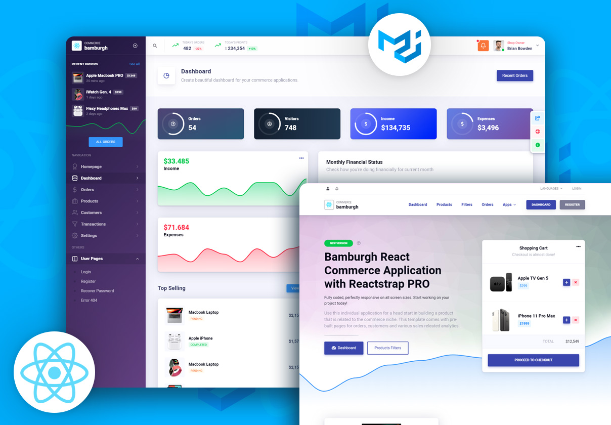 Bamburgh React Admin Dashboard with Material-UI PRO - Commerce Application