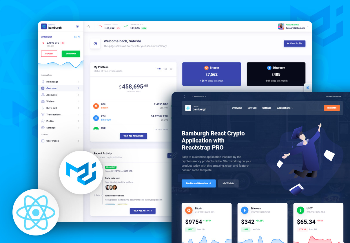 Bamburgh React Admin Dashboard with Material-UI PRO - Cryptocurrency Application