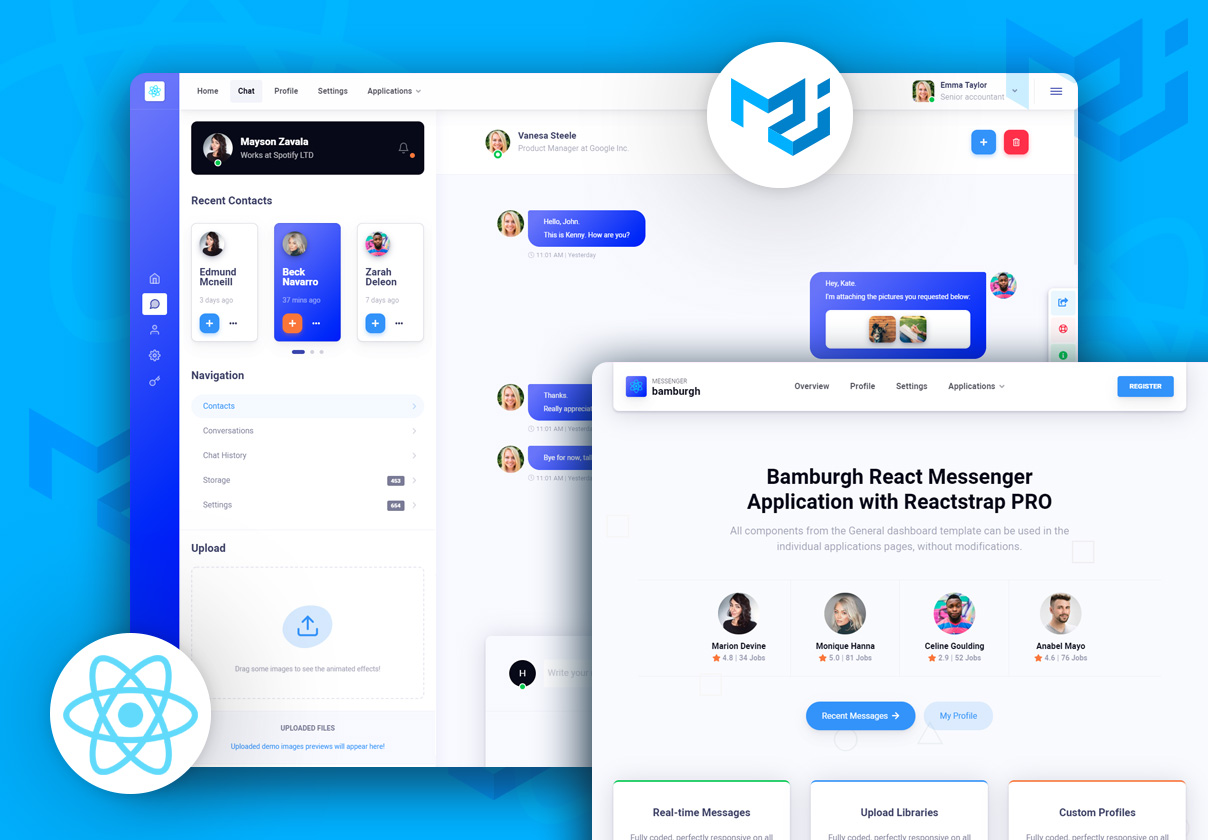 Bamburgh React Admin Dashboard with Material-UI PRO - Messenger Application